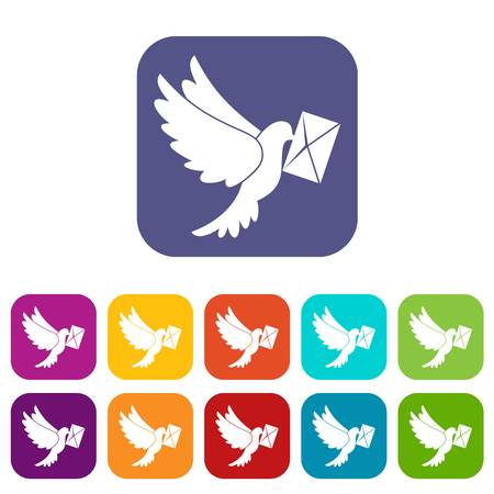 carrier pigeons: Dove carrying envelope icons set vector illustration in flat style In colors red, blue, green and other