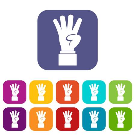 Hand showing number four icons set vector illustration in flat style In colors red, blue, green and other