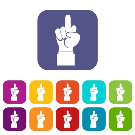 obscene gesture: Middle finger hand sign icons set vector illustration in flat style In colors red, blue, green and other