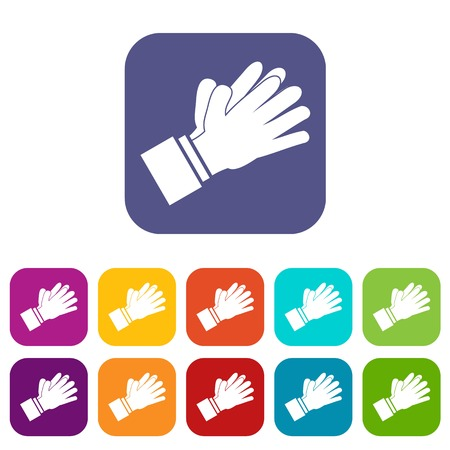 Clapping applauding hands icons set vector illustration in flat style In colors red, blue, green and other Ilustração