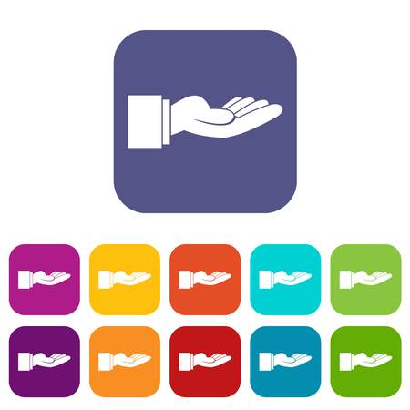 Outstretched hand gesture icons set vector illustration in flat style In colors red, blue, green and other