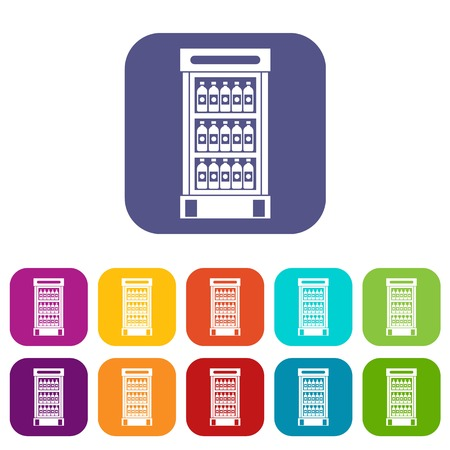 refrigerator: Fridge with refreshments drinks icons set vector illustration in flat style In colors red, blue, green and other Illustration