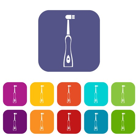 scrubbing: Electric toothbrush icons set vector illustration in flat style In colors red, blue, green and other