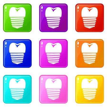 Tooth implant icons of 9 color set isolated vector illustration Ilustração