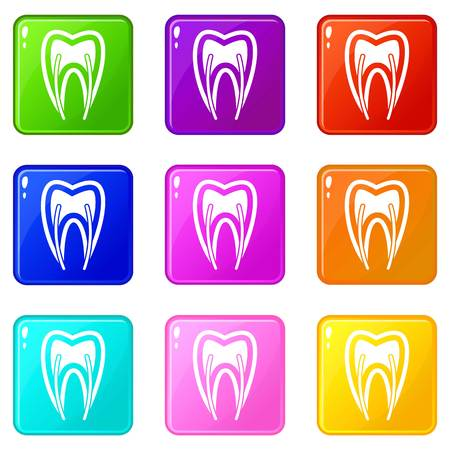 carious cavity: Tooth cross section icons of 9 color set isolated vector illustration