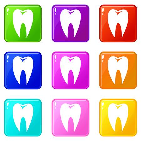 Tooth icons of 9 color set isolated vector illustration