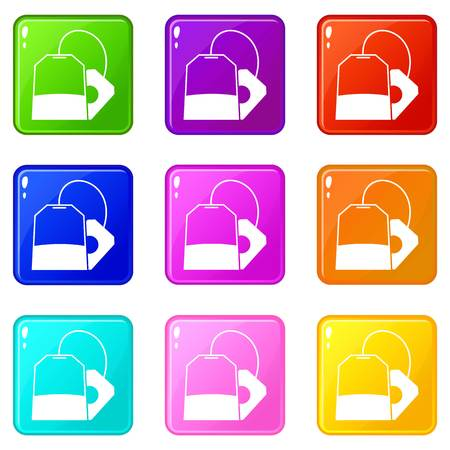 english culture: Teabag icons of 9 color set isolated vector illustration Illustration
