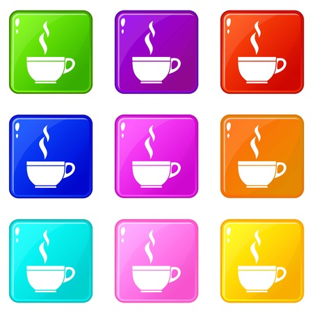 ENT: Glass cup of tea icons of 9 color set isolated vector illustration