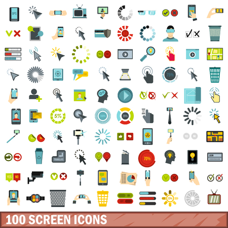 scale: 100 screen icons set in flat style for any design vector illustration