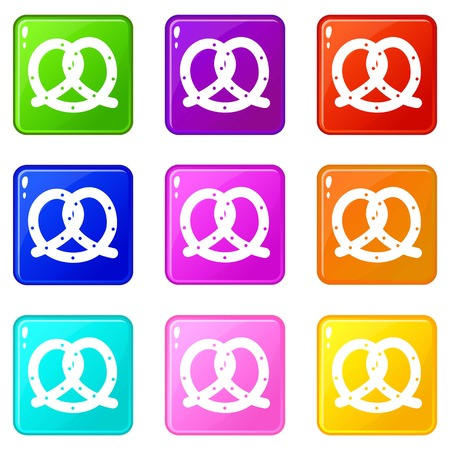 bretzel: Pretzel icons of 9 color set isolated vector illustration