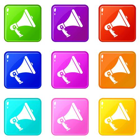 loud speaker: Megaphone icons of 9 color set isolated vector illustration