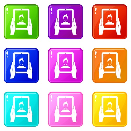 wireless icon: Hands holding a tablet with photo icons of 9 color set isolated vector illustration