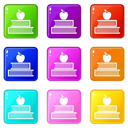 magazine design: Books and apple icons of 9 color set isolated vector illustration