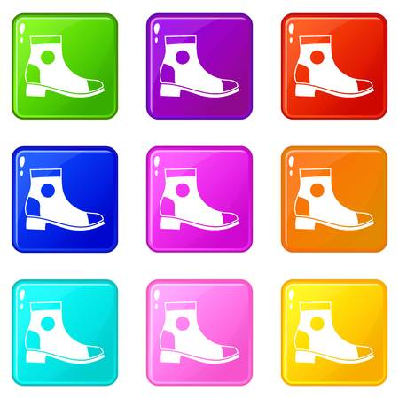 loafer: Men boot icons of 9 color set isolated vector illustration