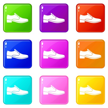 loafer: Men shoe icons of 9 color set isolated vector illustration