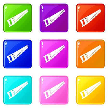 crosscut: Saw icons of 9 color set isolated vector illustration Illustration