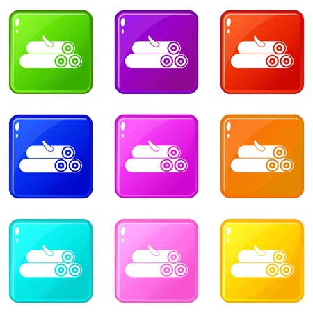 logging: Wooden logs icons of 9 color set isolated vector illustration