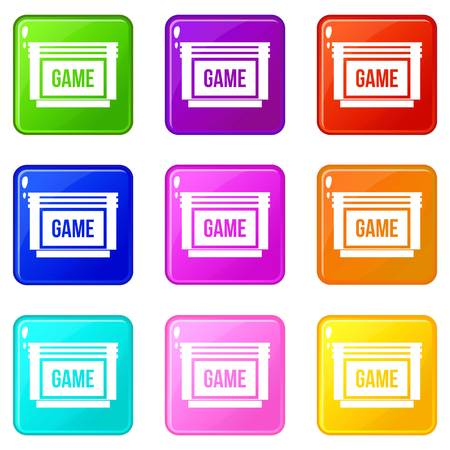 portable console: Game cartridge icons 9 set Illustration