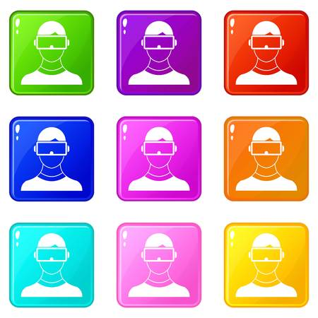 Virtual 3d reality goggles icons of 9 color set isolated vector illustration Illustration