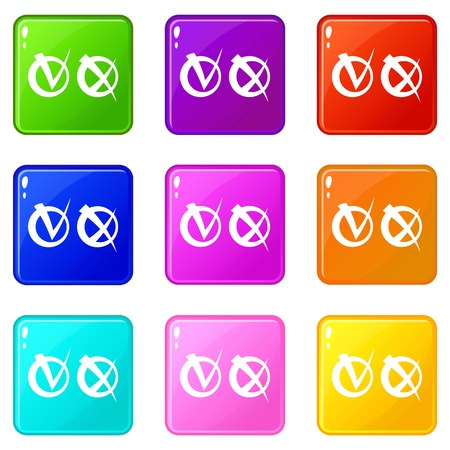 Tick and cross in circles icons of 9 color set isolated vector illustration