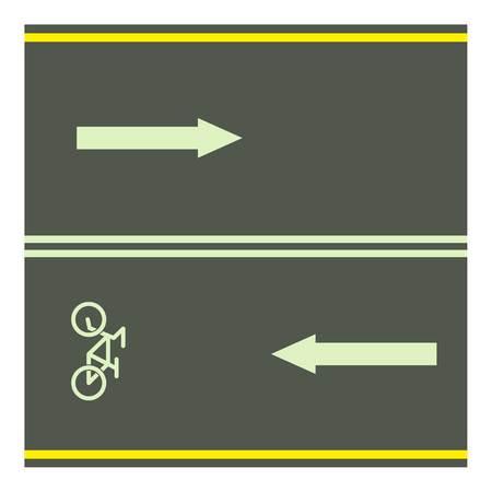 toll: Bike path icon, cartoon style