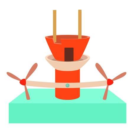 watermill: Water turbine icon, cartoon style