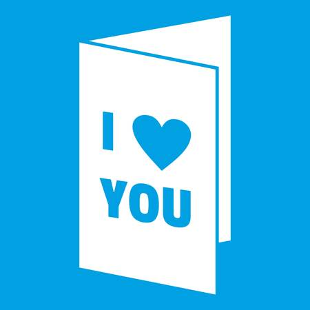 Happy Valentines day or weeding card icon white