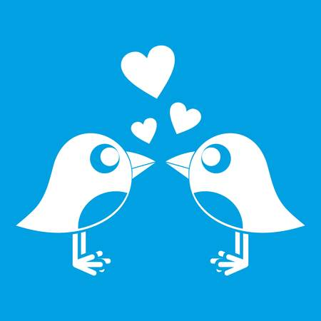 Two birds with hearts icon white Illustration