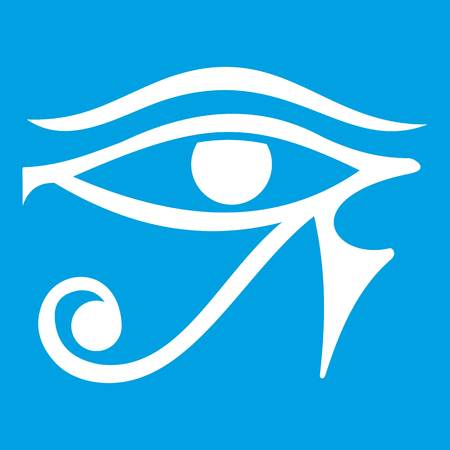 Eye of Horus Egypt Deity icon white Illustration