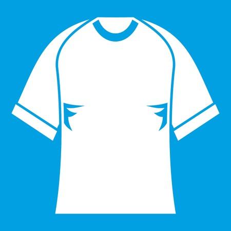 Raglan t-shirt white icon isolated on blue Illustration