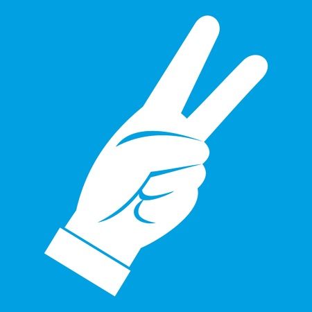 raise the thumb: Hand showing victory sign gesture icon white Illustration