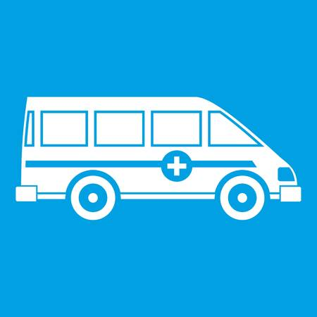 Ambulance emergency van icon white silhouette
