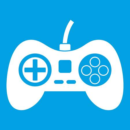 White silhouette of Video game console controller icon Illustration