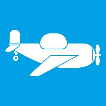 White silhouette of  Toy plane icon