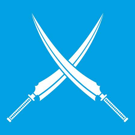 White silhouette illustration of Samurai swords icon