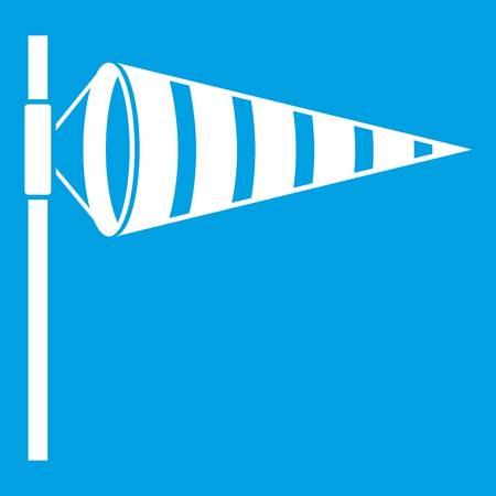 Meteorology windsock inflated by wind icon white Illustration