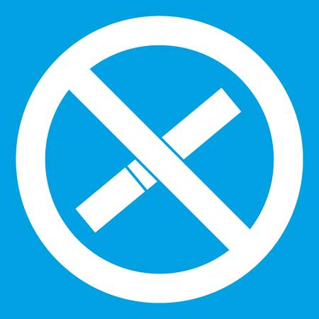Sign prohibiting smoking icon white