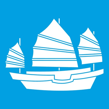 Junk boat icon white Illustration