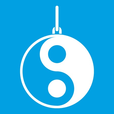 Yin Yang symbol icon white Illustration
