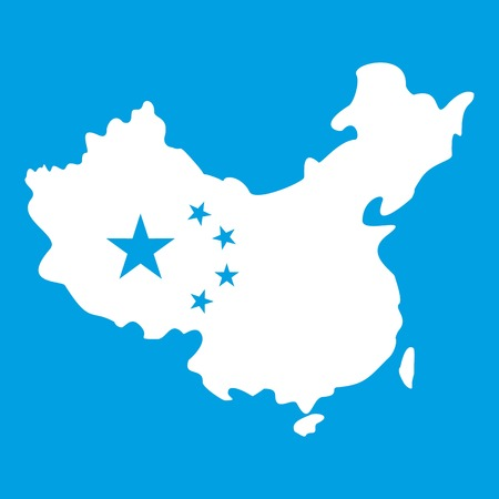 Map of China icon white Stock Vector - 82423809