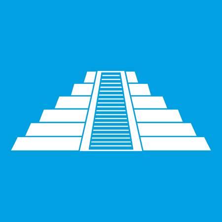 Ziggurat in Chichen Itza icon white Illustration