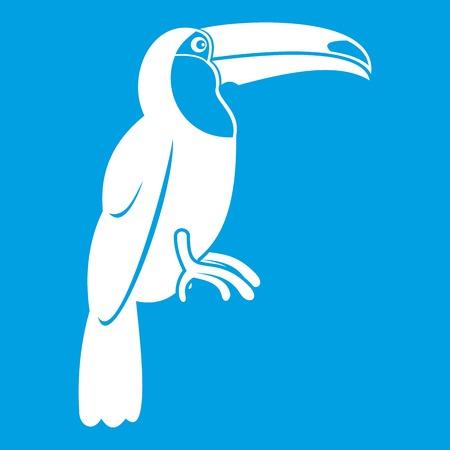 Brazilian toucan icon white Illustration