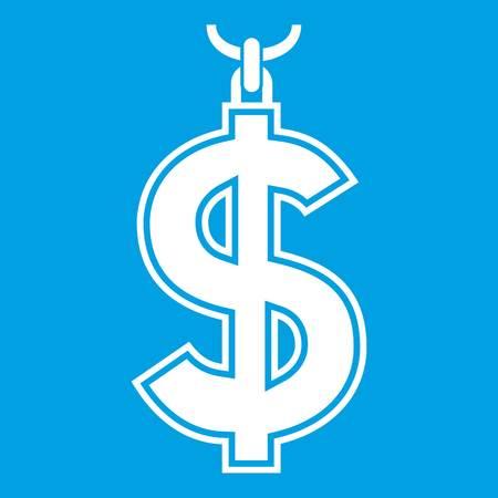 Necklace of dollar symbol icon white Illustration
