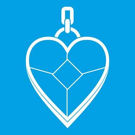 Heart shaped pendant icon white