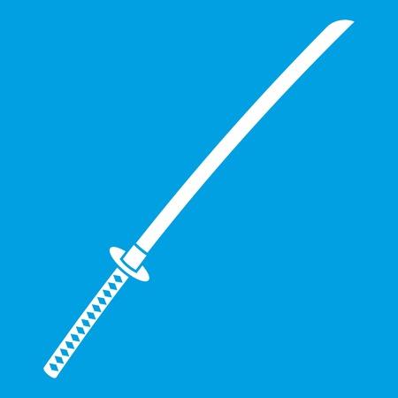 Japanese katana icon white Illustration