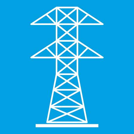 High voltage tower icon white Illustration
