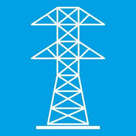 High voltage tower icon white Illustration