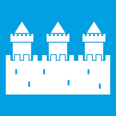 Medieval wall and towers icon white isolated on blue background vector illustration