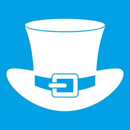 clovers: Top hat with buckle icon white isolated on blue background vector illustration