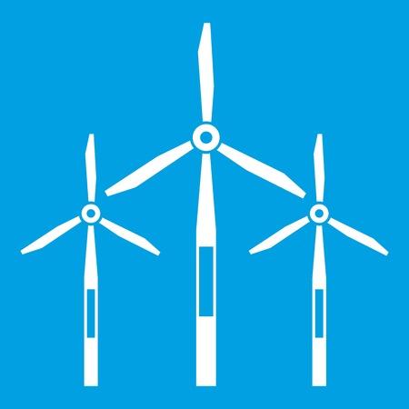 Wind generator turbines icon white isolated on blue background vector illustration